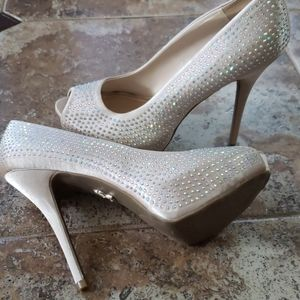 J-LO Blingy Blush Rhinestone High Heel Shoes